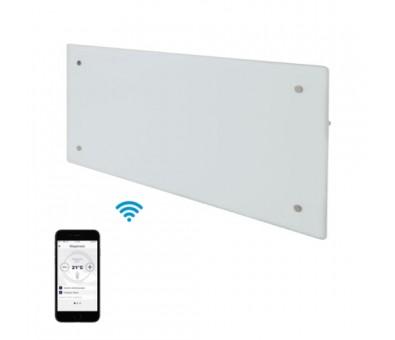 Elektrinis radiatorius stikliniu paviršiumi Adax CLEA L 10 KWT WiFi White, 1000 W