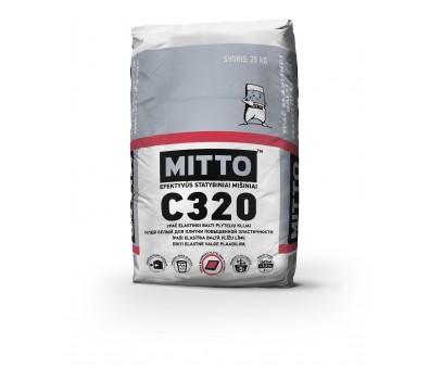 Ypač elastingi balti plytelių klijai MITTO C320 25 kg